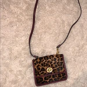 Coach LEOPARD/MAROON/CREAM Crossbody Wallet